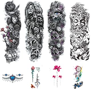 8 Blätter temporäre Arm Tattoos Aufkleber für Männer Fra
