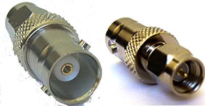 BNC female to SMA male adapter for Icom, Kenwood, Yaesu and other handhelds that have an SMA female antenna connector