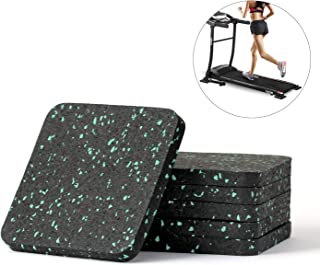 Magicfour Treadmill Mat, 6 Pack Rubber Treadmill Mat Anti-Slip Exercise Equipment Mat for Gym Home to Protect Carpet Hardwood Floors (3.94 X 3.94 X 0.5 inch)