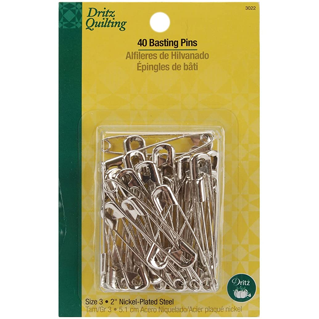 Dritz 3022 Basting Safety Pins, Size 3 (40-Count)