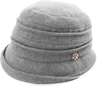 c8bfb69d4c7 SIGGI Cloche Round Hat for Women 1920s Fedora Bucket Vintage Hat Flower  Accent