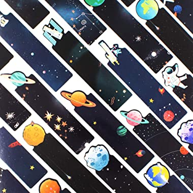 Daily Treasures 30Pcs Space Theme Bookmarks, Colorful Universe Book Markers with 3Pack Moon Sticky Notes-Double Side Galaxy P