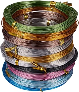 PandaHall Elite 10 Rolls Aluminum Craft Wire 20 Guage Flexible Artistic Floral Jewelry Beading Wire 10 Colors for DIY Jewely Craft Making Each Roll 65 Feet