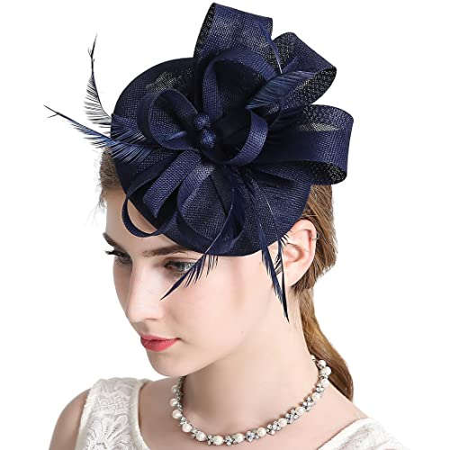 Sinamay Feather Fascinators Womens Pillbox Flower Derby Hat for Cocktail  Ball Wedding Church Tea Party 07b0ab58598