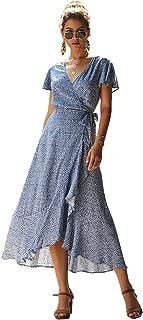 Women's Summer Short Sleeve V Neck Floral Wrap A Line Party Maxi Dresses
