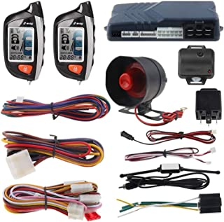CarBest 2 Way Car Alarm System with LCD Pager Display Remote Engine Start Turbo Timer Mode Shock Alarm DC12V Long Remote Range