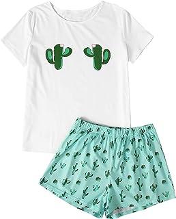 DIDK Conjunto de pijama de manga corta con cuello redondo y manga corta para mujer, Verde (Green Cactus), L