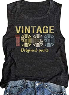 GREFLYING Vintage 1969 Original Parts 50th Birthday Gift Womens Tank Tops Retro Anniversary Cute Funny Summer Casual Vest Tees
