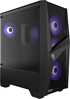 MSI MAG FORGE 101M Mid-Tower - Caja de PC Gaming (3 x 120 mm RGB + 1 x 120 mm RGB Ventiladores Incluidos, Panel Cristal Templado, ATX, mATX, Mini-ITX), negro