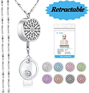 SAM & LORI Strong Lanyard Necklace Stainless Steel Beaded Chain Necklace Silver for ID Badge Holder and Key Chains Non Breakaway Inspirational Charms Pendant for Women Retractable Diffuser Sparkle