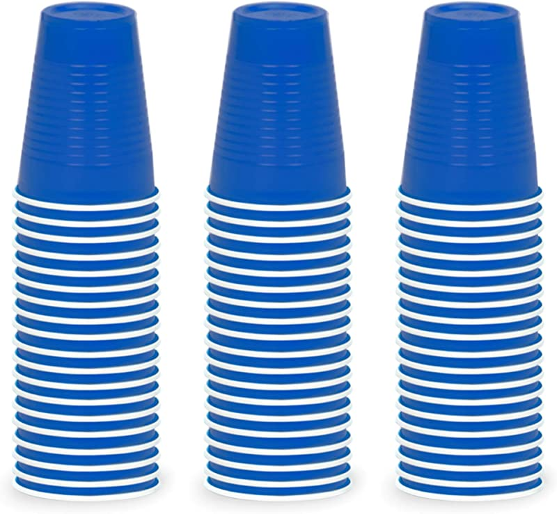 DecorRack 60 Party Cups 12oz Reusable Disposable Soda Cups For Birthday Party Bachelorette Camping Indoor Outdoor Events Beverage Drinking Cups Round BPA Free Plastic Cups Blue 60 Pack