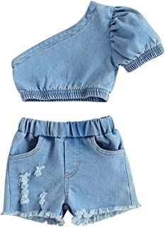 Fashion Toddler Baby Girl Off-Shoulder Crop Top+Pocket Jeans Shorts Summer Clothing Outfits Set