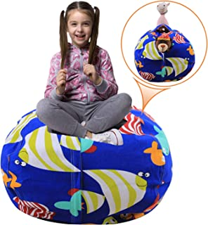 Injoy 38'' Stuffed Animals Bean Bag Extra Large Chair Cover -100% Cotton Canvas Kids Toy Storage Zipper Bags Organizer Comfy Pouf for Boys Girls Toddlar, Blue with Fishes