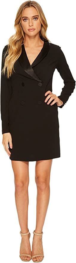 Donna Morgan - Long Sleeve Crepe and Satin Tuxedo Dress
