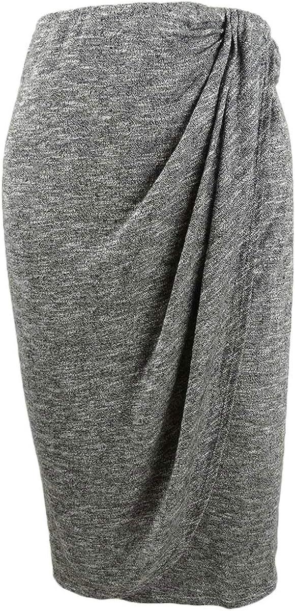 Bar III $50 Womens New 1201 Gray Gathered Below The Knee Pencil Skirt 2XS B+B