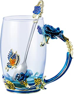 Tea Cup Coffee Mug Glassess Cups & Spoon Beautiful Unique Gift For Women Butterfly Rose (Blue rose x)