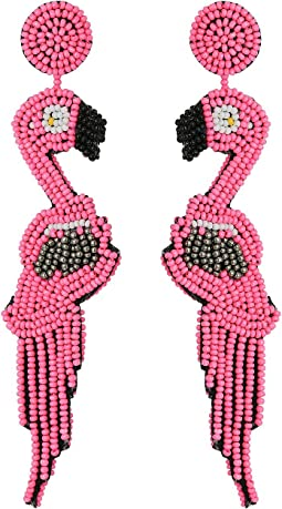 "4.5"" Pink/Hematite Seed Bead Flamingo Post Earrings"