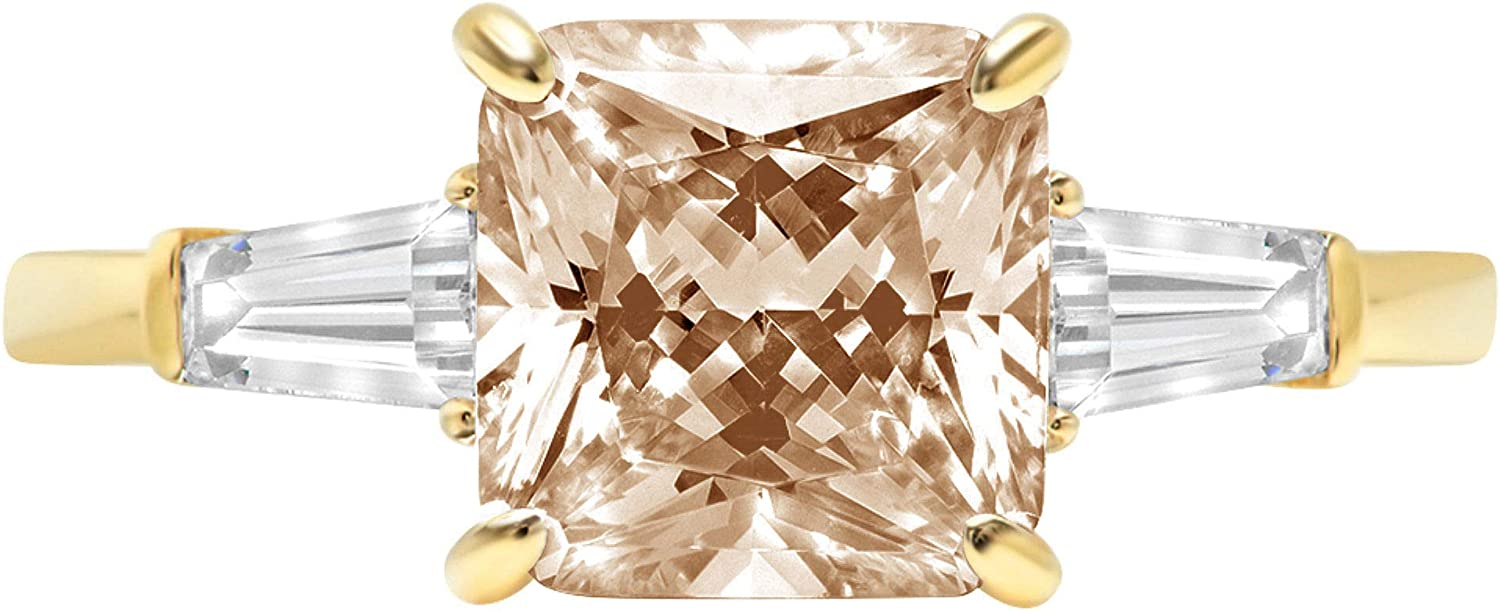 3.44ct Asscher Baguette cut 3 stone Solitaire with Accent Brown Champagne Ideal VVS1 Simulated Diamond CZ Engagement Promise Statement Anniversary Bridal Wedding Ring 14k Yellow Gold