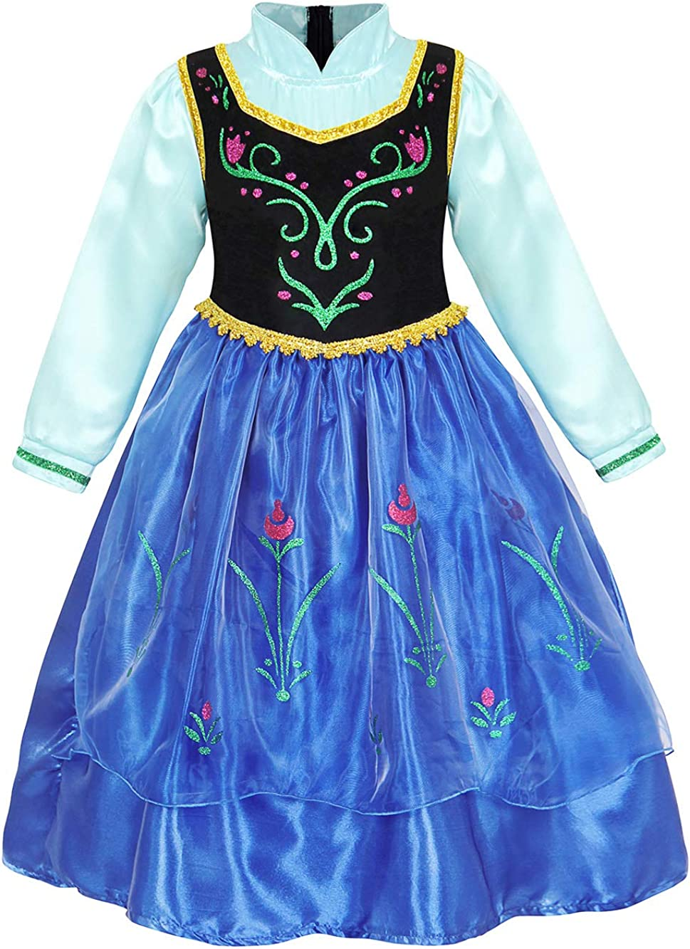 AmzBarley Girls Princess Birthday Theme Party Outfits Halloween Costume Cosplay Dress Up Role Play Clothes with Rose Cape