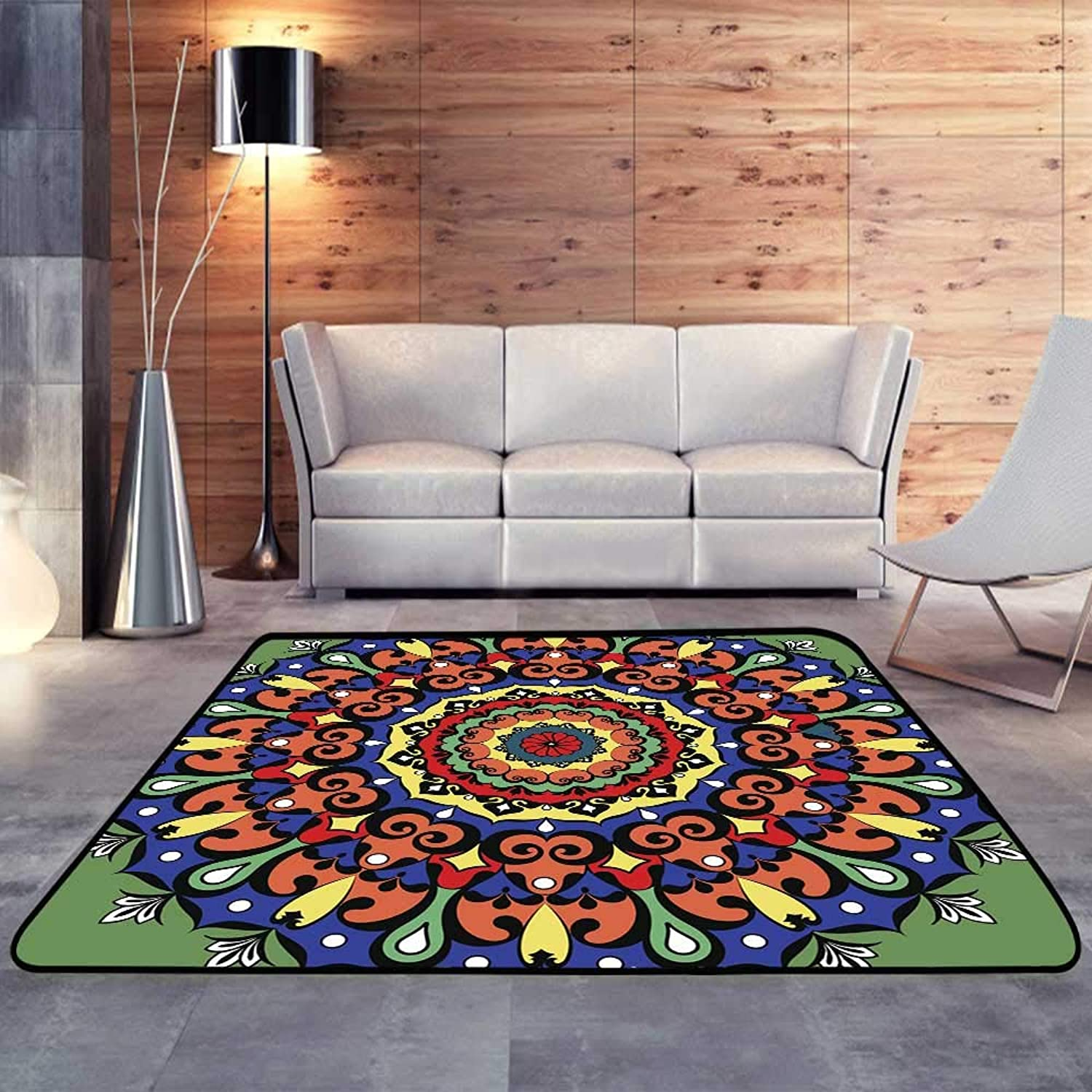 Carpet mat,Mandala Round Ornament Pattern Geometric Circle elementW 47  x L59 Floor Mat Entrance Doormat