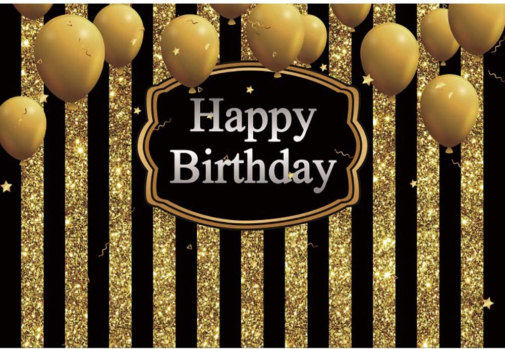 Be super welcome Leyiyi 15x10ft Oklahoma City Mall Happy Birthday Backdrop Black Banner Gold Stripe