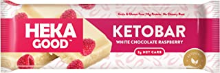 Heka Good Foods Low Carb Keto Bars, White Chocolate Raspberry, 2g Net Carb, 10g Protein, No Sugar Added, Grain & Gluten Free, 12 Count