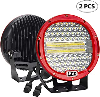 Led Light Bar by BeamCorn,2Pcs 9 inch 384W 38400Lm Combo [Flood + Spot ] Led Round Driving Lights Off road Lights for Vehicles Jeep Wrangler Trucks SUV Hunters ATV 4x4 Red