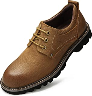 Men's Leather Boots Casual Stylish lace up Work Shoes Fashion Comfortable Business Slip Resistant Ankle Boots