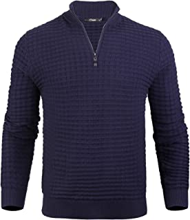 iClosam Men's Zip Jumpers Men's Set-in Classic Sweater Pullover Knitwear