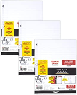 Five Star Loose Leaf Paper, 3 Hole Punched, Reinforced Filler Paper, Wide Ruled, 10-1/2 x 8 inches, 100 Sheets/Pack, 3 Pac...