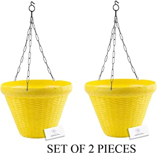 Unique Plastic Hanging Pot with Metal Chain (Yellow, Pack of 2)