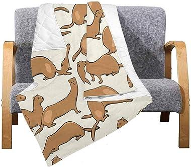 INTERESTPRINT Cute Weasels in Summer Coats Super Soft Lightweight Bedding Quilt 50 x 60 Inches