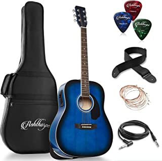 Ashthorpe Full-Size Dreadnought Acoustic-Electric Guitar Bundle - Premium Tonewoods - Blue