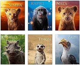 Lion King 2019 Prints - Set of 6 (8 inches x 10 inches) Photos - Simba - Nala - Timon - Pumbaa - Rafiki - Zazu - Includes Bonus Poster of Mufasa and Simba