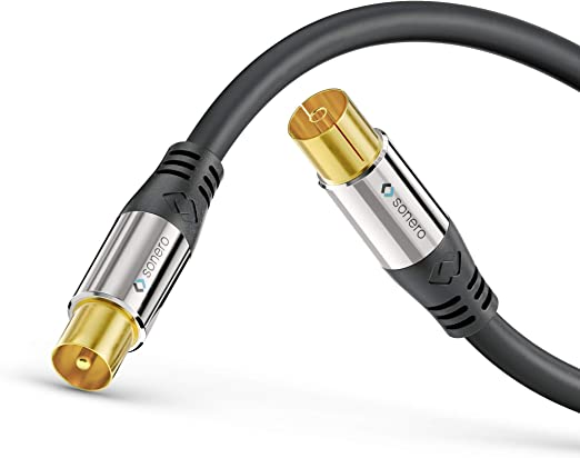 sonero® Premium Cable de Antena de TV/Cable coaxial, 10.0m, Negro
