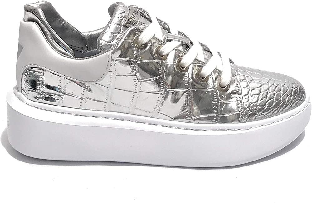 Guess,sneakers per donna , braylin active lady color argento ,in pelle DS20GU02_35