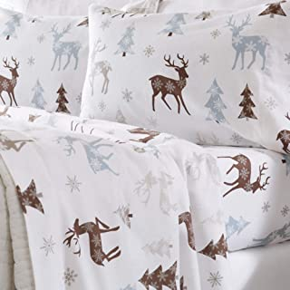 Home Fashion Designs Stratton Collection Extra Soft Printed 100% Turkish Cotton Flannel Sheet Set. Warm, Cozy, Lightweight, Luxury Winter Bed Sheets Brand. (California King, Snowy Reindeer)