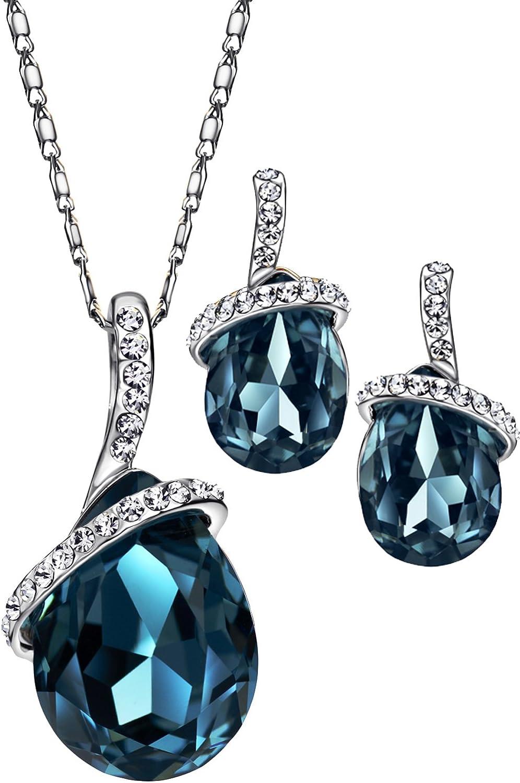 NEOGLORY Angle Tear Crystal Jewelry Set, Pendant Necklace, Earrings,18