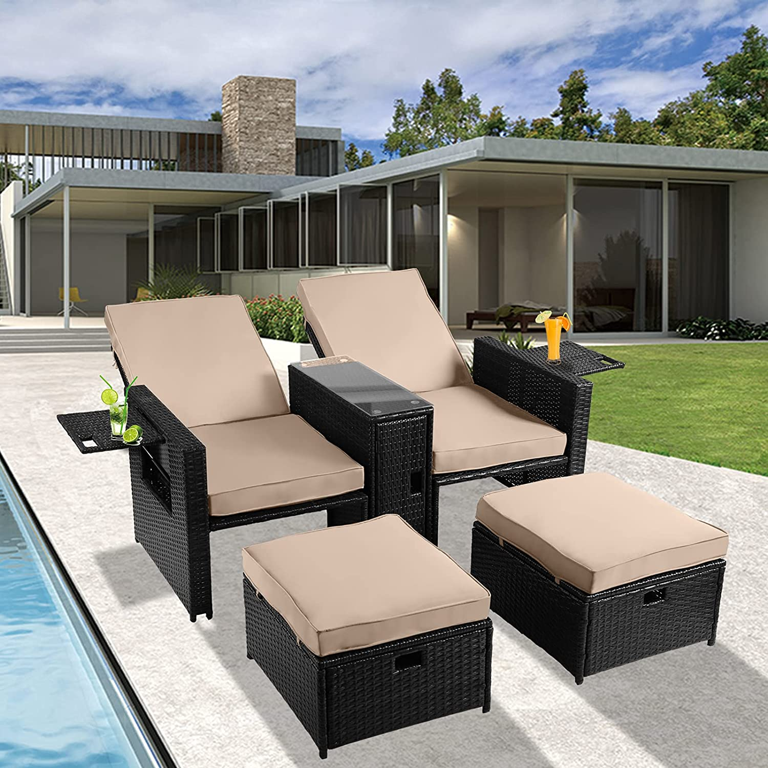 TITIMO 5 Excellent Pieces Max 71% OFF Wicker Patio Furniture - Rattan Outdoor Set Love