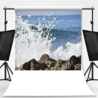 Crashing Waves on The Beach Photography Backdrop,146794 for Photo Studio,Flannelette:6x10ft
