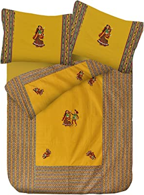 Lali Prints 100% Cotton Patch Work Embroidery King Size Bedsheet with 2 Pillow Covers (Green)