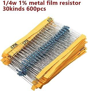 600pcs/set 30 Kinds 1/4W Resistance 1% Metal Film Resistor Pack Assorted Kit 1K 10K 100K 220ohm 1M Resistors (30 kinds)