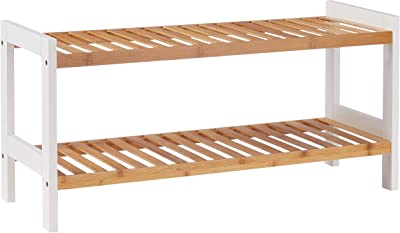 Relaxdays Banco Zapatero, bambú, Blanco y marrón, 67 x 24,5 cm ...