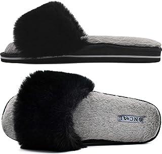 ONCAI Zapatillas de Estar por Casa de Mujer Zapatillas de Felpa Mujer Punta Abierta Peludo Acogedor Pantuflas de Sandalias...