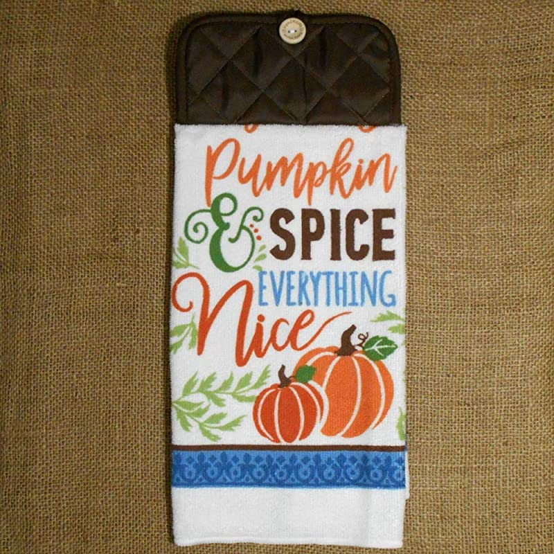 Pumpkin Spice And Everything Nice Hanging Microfiber Dish Towel Fall Kitchen Decor