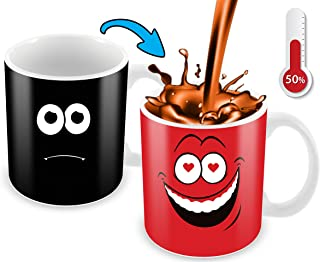 Heat Sensitive Mug | Red Falling In Love Funny Face || Funny Coffee Cup - Add Hot Liquid And Reveal The Lovely Smiley Face - Funny Gift For Lovers - Unique Color Changing Coffee Mug