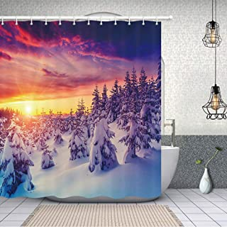 NYMB Fantasy Country Snow Scenery Shower Curtains, Rustic Pine Trees in Winter Foggy Forest with Snow at Sunset Bathroom Curtains Waterproof Fabric Panel Bath Curtain Sets with 12 Hooks, 70