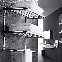 XINHU Wandgemonteerde 304 roestvrijstalen handdoekenrek drielaags badkamerrek (Maat: 470mm)