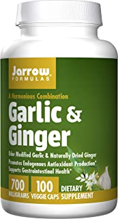 Jarrow Formulas Garlic and Ginger, Promotes Cardiovascular and Digestive Health, 700 mg, 100 Capsules, (Pack of 2)