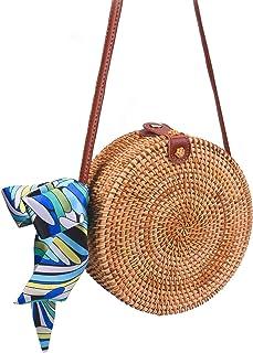 Round Rattan Bags, Heegay Sholov Handmade Bali Ata Straw Woven Circle Crossbody Handag for Women with Shoulder Leather Strap